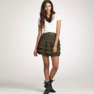 J-Crew 100% silk ruffle tiered mini skirt size 2